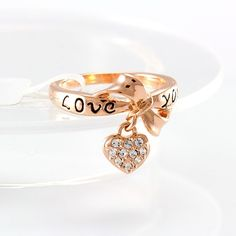Chic 18K Gold Plated Love Heart Drop Copper Jewelry Finger Ring Inlay Zircon Two Sizes