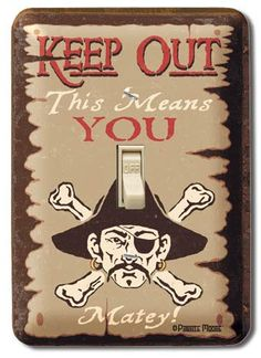 Pirate light switch cover made with durable metal and sublimated graphics.
