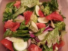 Romain lettuce, tomatoes, cucumbers and red onions with fresh lemon juice and extra virgin olive oil.  -7 $ Caprese Salad, Cobb Salad, Fresh Lemon Juice, Onions, Lettuce, Olive Oil, Tomatoes, Diet, Vegan