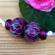 Handmade lampwork glass beads by Anu Luht by artsbylaluna Glass Jewelry, Beaded Jewelry, Glass Beads, Jewellery, Polymer Clay Beads, Lampwork Beads, Pearl Bracelets, Lampworking, Purple Glass