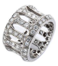"""Ringweite: 55. Breite: ca. 14 mm. Gewicht: ca. 12 g. WG 750. Signiert: """"Cartier 806639"""". Prächtiger breiter Bandring mit hochfeinen Brillanten, zus. ca...."""