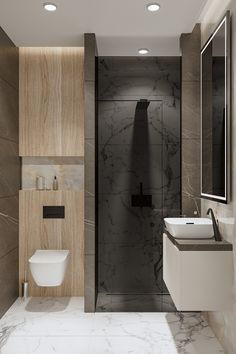 STIPFOLD Architecture and Interior Design Company from Tbilisi Georgia - EMNYX modern contemporary interior design wood leather stone luxury folding plants living dining master bedroom onyx calacatta brown BB italia gessi poliform moodboard bathroom wc Wood Interior Design, Interior Design Companies, Contemporary Interior Design, Modern Contemporary, Washroom Design, Bathroom Design Luxury, Modern Bathroom Design, Latest Bathroom Designs, Hotel Decor