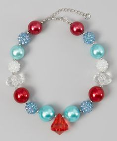 Take a look at this Whitney Elizabeth Aqua & Pink Gem Bead Necklace on zulily today!