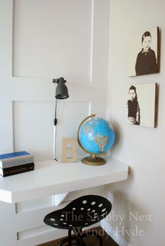 Clever Space-Saving Desk in My Little Boys' Room~