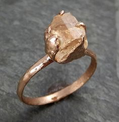 Raw Rough Champagne Pink Topaz 14k Rose gold Ring Gold Pink