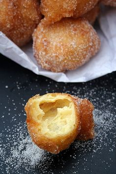 portuguese fried pastries with sugar cinnamon (sonhos de natal)
