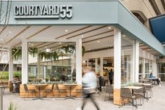 The new Courtyard 55 cafe at St Vincent's Hospital for our Zouki clients Red Design, Graphic Design, Cafe Bar, Hospitality, Melbourne, Coffee Logo, Interior Design, Outdoor Decor, Branding
