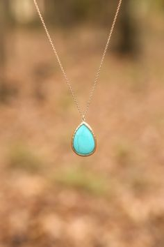 Simplicity at it's best! Stunning, turquoise teardrop necklace