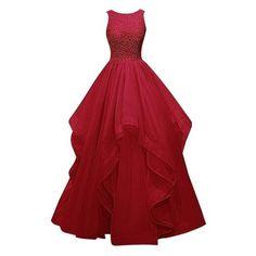 Dresstells Long Prom Dress Asymmetric Bridesmaid Dress Beaded Organza ❤ liked on…