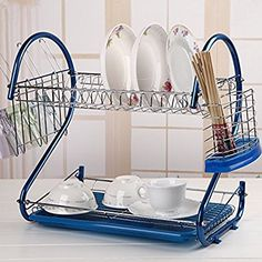 Pesters Dish Drying Rack System, Kitchen Multi-function Stainless Steel Utensil Holder with Drainboard, Chrome (Blue)(US Stock) Drying Rack, Utensil Holder, Kitchen Appliance List, Dish Drainers, Dish Racks, Plates, Stainless Steel Utensils, Stainless Steel Plate, Dish Rack Drying