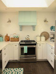 Gorgeous Coastal style white shaker kitchen with aqua blue at thehappyhousie.com-11