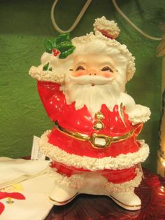 Vintage ceramic Santa container/planter. From Vendor 889 in booth 187. Priced at $18.00. Available at The Brass Armadillo Antique Mall - WheatRidge, CO! (303) 403-1677.