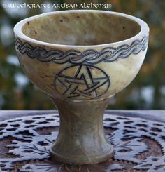 Magickal Ritual Sacred Tools:  Celtic Knot Pentacle Rustic Stone Pedestal Incense Burner, Witchcrafts Artisan Alchemy.