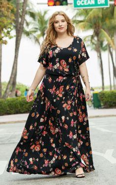 918a8006cd47 Maxi robe longue fleurie Castaluna mode femme grande taille