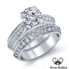 Pure 925 Silver White Gold Plated Round Cut Sim Diamond Women's Bridal Ring Set