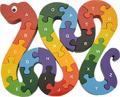 Eco-friendly Snake Alphabet Puzzle, hand-crafted of wood and non-toxic paints. Encourages fine motor and letter recognition skills. Wooden Animal Toys, Wood Toys, Wooden Educational Toys, Scroll Saw Patterns Free, Wood Games, Puzzles For Toddlers, Eco Friendly Toys, Woodworking Toys, Wooden Puzzles