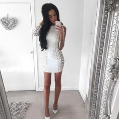 dea60afc621 2017 Newest Summer Bandage Dress Women Party White Long Sleeve Mesh O-Neck  Lace-Up Bodycon Dress Women Wholesale Sexy Vestidos