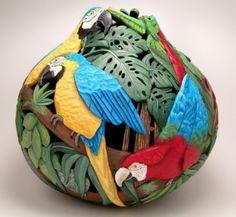 Gourd Art by Bonnie Gibson Decorative Gourds, Hand Painted Gourds, Gourds Birdhouse, Cardboard Art, Diy Art Projects, Rum, Miniature Dolls, Miniature Houses, Gourd Art