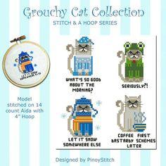 Stitch & a Hoop Grouchy Cat Cross Stitch PDF by PinoyStitch, $5.00
