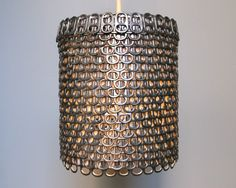 A lampshade made out of pop can tabs...neat