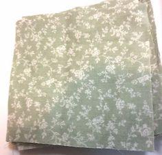 Vintage Green Cotton White Floral  Quilt Blocks 4 inch    Set of 38