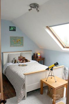 Get this look with Colorhouse WOOL Skylight Bedroom, Bedroom Ideas, Bedroom Decor, Loft Stairs, Teen Boys, Yolo, Attic, House Tours, The Row