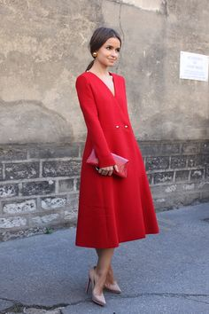 Miroslava Duma red dress that scream chic