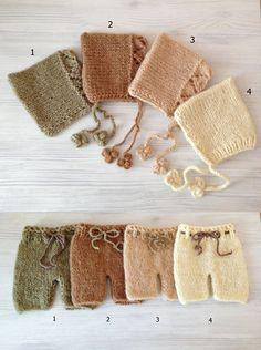 Newborn , Knit newborn set, Knit hat ,Knit shorts,Photo prop ,Christening ,Photography prop,Newborn shorts