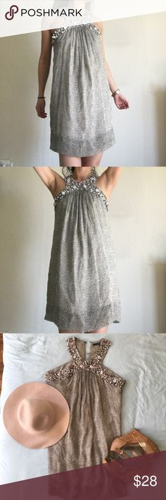 French Connection Beaded Tunic Beautiful delicate beading all along the halter. Loose flow-y sheer printed tunic is lined.  Can also double as a dress (like shown in pictures) for those of you who are petite. French Connection Tops Tunics