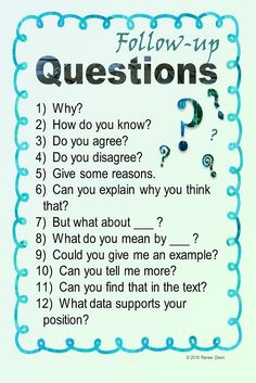 Follow-up Questions Poster for your classroom.  Questioning techniques, accountable talk, class conversations, turn and talk phrases for The Perfect Lesson.