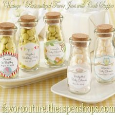 """Vintage"" Personalized Milk Bottle Favor Jars for Baby Showers, Bridal Showers, Weddings, BIrthdays!  http://favorcouture.theaspenshops.com/personalized-milk-favor-jar.html"