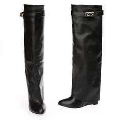 2015 New Fashion Womens Leather Fold Over Knee High Boots Wedge Fold Over Boots Wedge Boots, High Heel Boots, Shoe Boots, Shoes, Women's Boots, Wedge Heels, Fold Over Boots, Leather Over The Knee Boots, Suede Leather