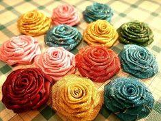 D.I.Y. Flower..RIBBON ROSE - Very pretty using glittery ribbon.  Nice embellishment for handmade purse, headband, upcycled tee shirts...