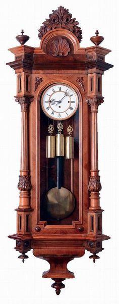 GEBRUDER RESCH WALNUT 3 WEIGHT GRAND SONNERIE VIENNA REGULATOR WALL CLOCK 1875c | eBay
