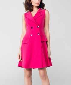 Look at this Pink Double-Breasted Sleeveless Dress on #zulily today!