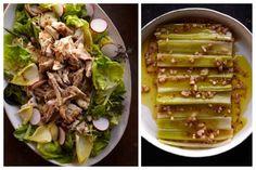 roast chicken salad/ braised leeks from buvette cookbook