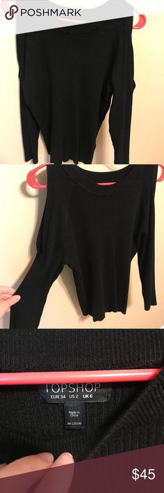 Nordstrom Top Shop cold shoulder Sweater! Only worn once, great quality and great fit! No fading. Cold shoulder but fairly warm/thick material. Topshop Sweaters