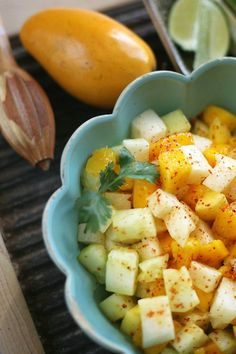 Mango, Jicama, and Cucumber Salad - Muy Bueno Cookbook This refreshing side dish incorporates chopped mango, jicama, cucumber, freshly squeezed lime juice, and a dash of salt and spice. The longer the salad sits, the more flavorful it becomes.