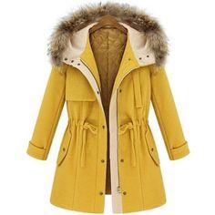 SheIn(sheinside) Yellow Hooded Drawstring Pockets Coat