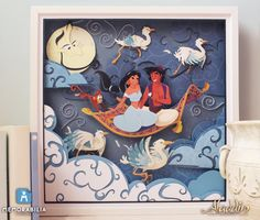 Disney Aladdin Paper Art: A Whole New World - Handmade Illustration of Aladdin and Princess Jasmine on the Magic Carpet with Abu and Genie! https://www.etsy.com/it/listing/196643125/disney-aladdin-il-mondo-e-mio?ref=pr_shop&langid_override=0
