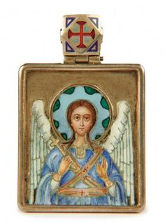 A VERY FINE RUSSIAN SILVER GILT AND ENAMEL ICON OF THE GUARDIAN ANGEL, Pavel Ovchinnikov, Moscow 1899-1908.    Sold for $15,000
