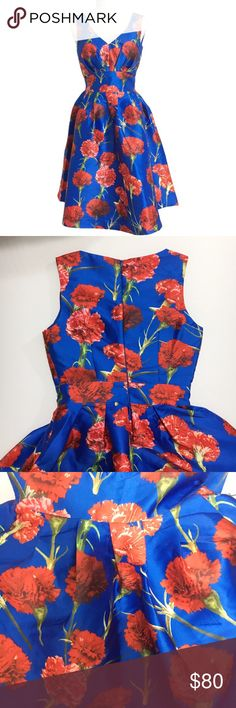 """ModCloth Blue and Red Floral Print Dress Size 2 ModCloth Blue and Red Floral Print Dress Size 2  Blue and red floral print A-line dress by Chi Chi London and sold on the ModCloth website. Back zip closure. Lining underneath the shell. No stretch. New with tags, never worn. Size 2. Retails for $148.  Fabric Content:  - Shell: 100% polyester - Lining: 100% polyester  Measurements (not doubled, approximate and taken with garment laid flat): - Bust: 15.5"""" - Waist: 13"""" - Hem width: 42"""" - Waist to…"""