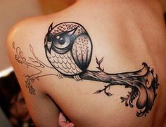 Cute Owl Tattoo for Back Shoulder