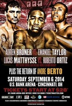 This Saturday Nite on @SHOsports @AdrienBroner v Emmanuel Taylor, Lucas Matthysse v @robertomassa24 & @AndreBerto v Steve Upsher #harlem #boxing
