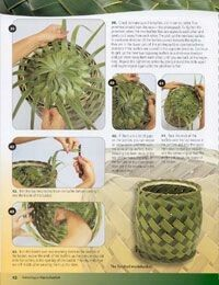 Learn how to weave baskets with Hawaiian coconut palm fronds. Flax Weaving, Weaving Art, Basket Weaving, Palm Frond Art, Palm Fronds, Bamboo Crafts, Leaf Crafts, Coconut Leaves, Deco Nature