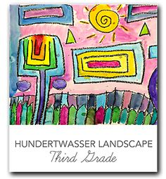 Video and lesson plan that shows kids how to draw and  paint a landscape like Hundertwasser