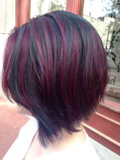 Hair Color Purple Teal Beautiful Ideas For 2019 Burgundy Hair With Highlights, Coloured Highlights, Deep Burgundy, Teal And Purple Hair, Purple Streaks, Colored Curly Hair, Wild Hair, Hair Inspiration, Cool Hairstyles