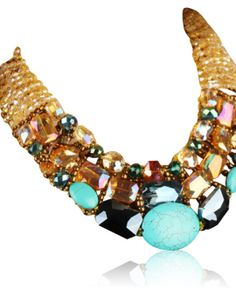 Handmade Turquoise Blue and Crystal Statement Choker Necklace Jeweller full of grace good for your fashion design  http://www.prestigeapplause.com/