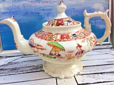 RARE Large Early 19th century (Possibly Hilditch)Antique English Chinoiserie Teapot Rococo Shape | Pottery, Porcelain & Glass, Date-Lined Ceramics, Pre-c.1830-50