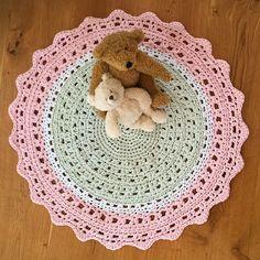 Round Crochet Doily Floor Rug - Pastel Pink, White & Pastel Mint Tshirt Yarn by BunyetskaHandmade on Etsy https://www.etsy.com/au/listing/271282669/round-crochet-doily-floor-rug-pastel